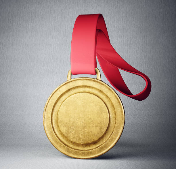 medal gold medal isolated on a grey background. 3d illustration medal stock pictures, royalty-free photos & images
