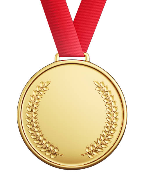 medal golden medal isolated on a white  background. 3d illustration medal stock pictures, royalty-free photos & images