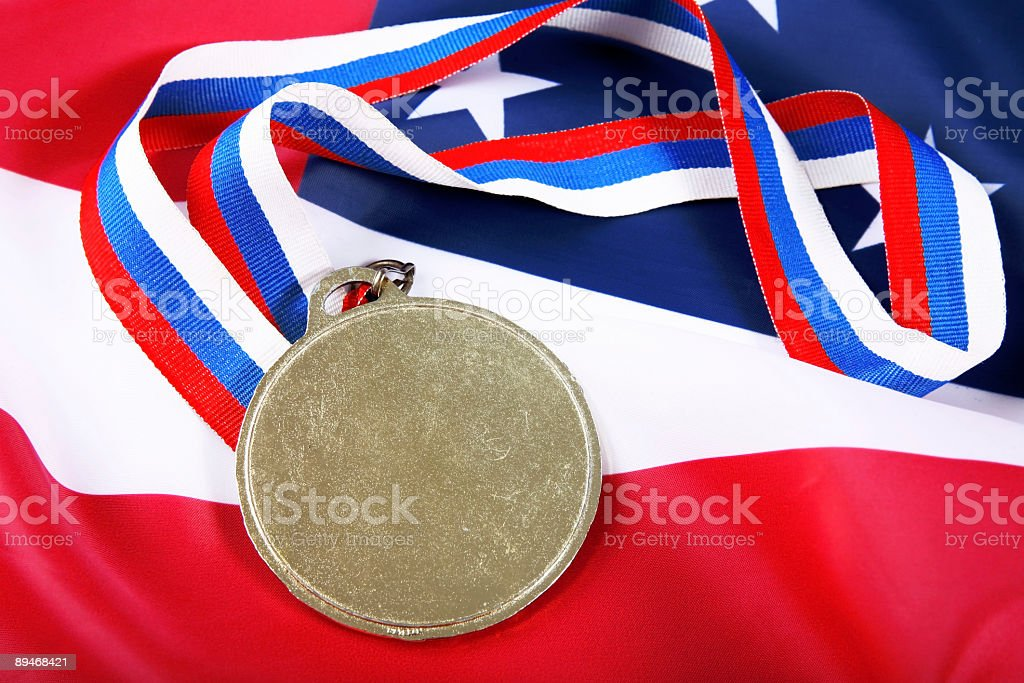 Medal with color Ribbon and USA flag royalty-free stock photo