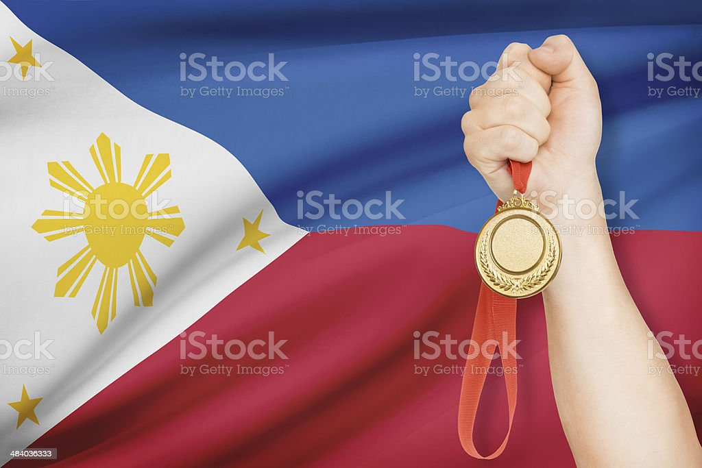 Medal with flag on background - Republic of the Philippines stock photo