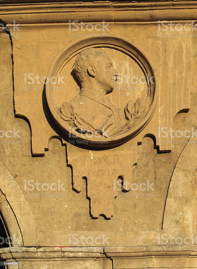 Medallion of General Franco, Salamanca stock photo