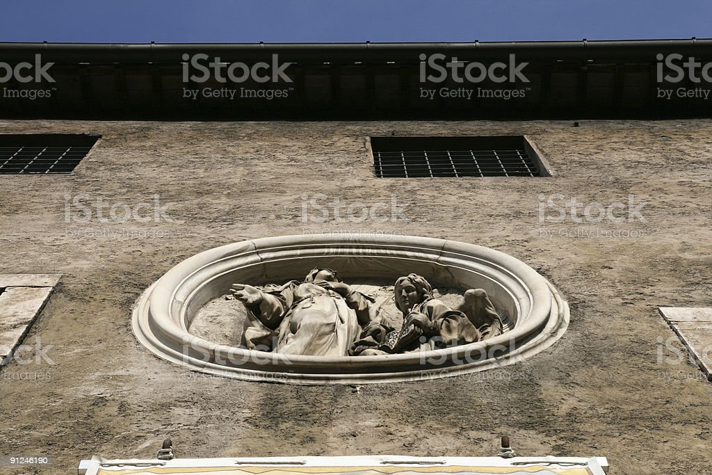 Medallion of Virgin Mary with Angel. Rome stock photo