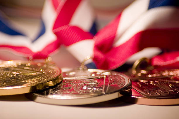 Medallions Gold, silver, and bronze medals. medal stock pictures, royalty-free photos & images