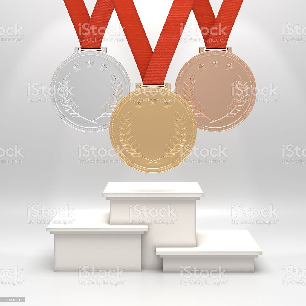 Medals and podium stock photo