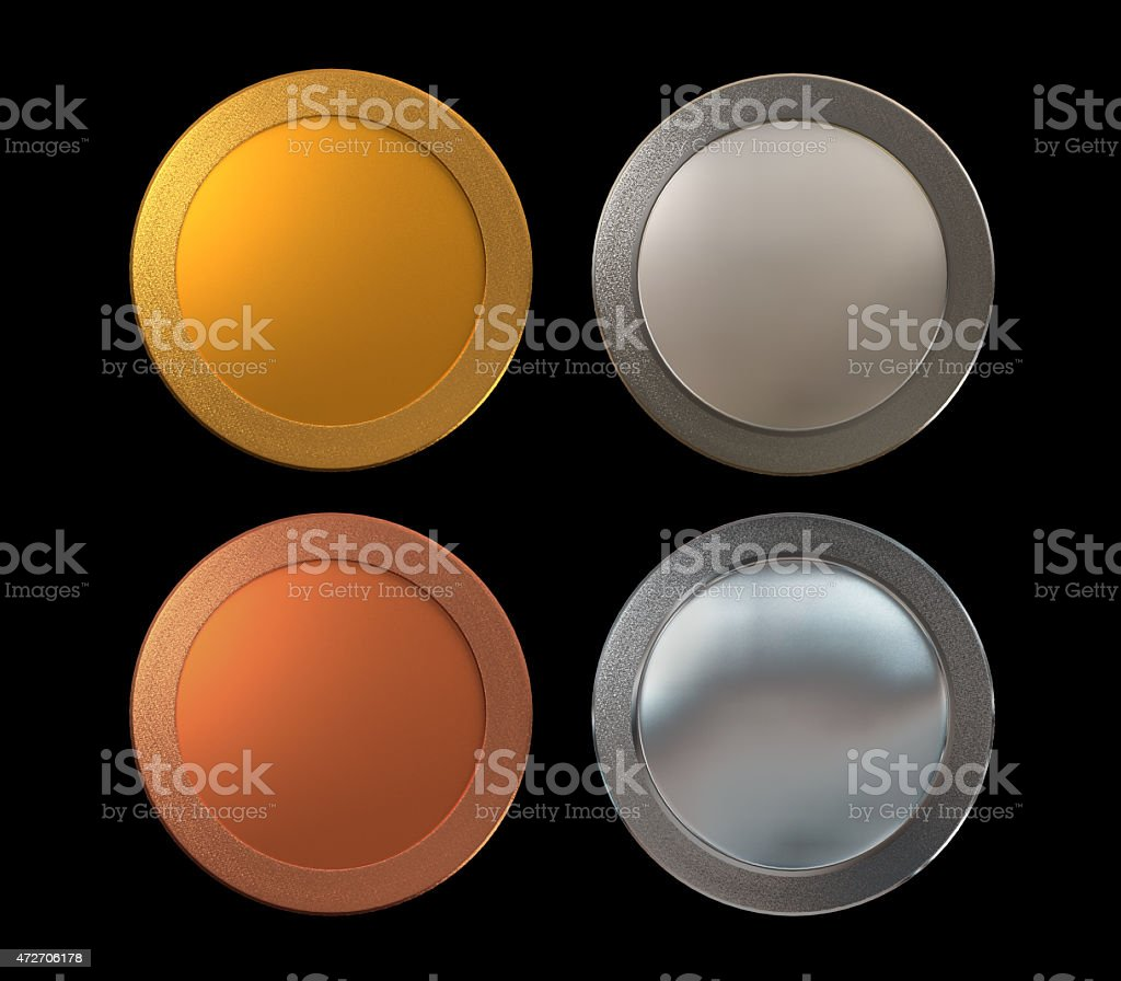 Medals Gold Silver Bronze platinum stock photo
