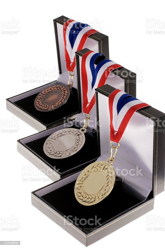 . medals in gold bronze and silver stock photo