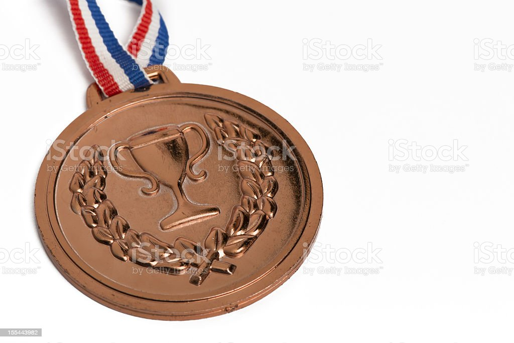 Olympic medals isolated on white: Bronze stock photo