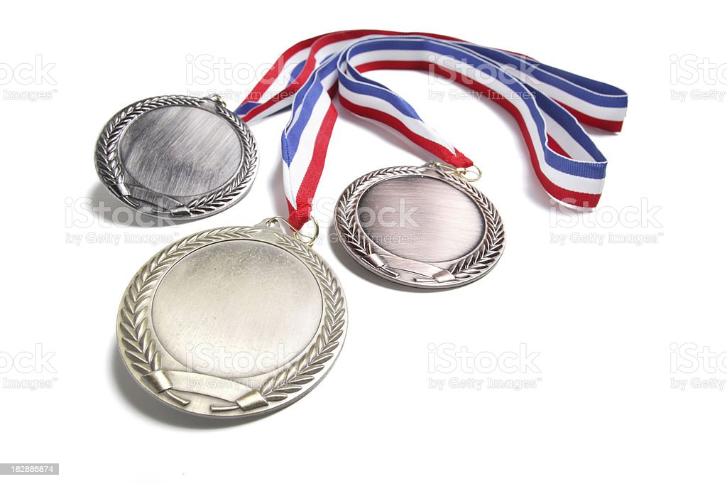 medals isolated on white(w/path) royalty-free stock photo