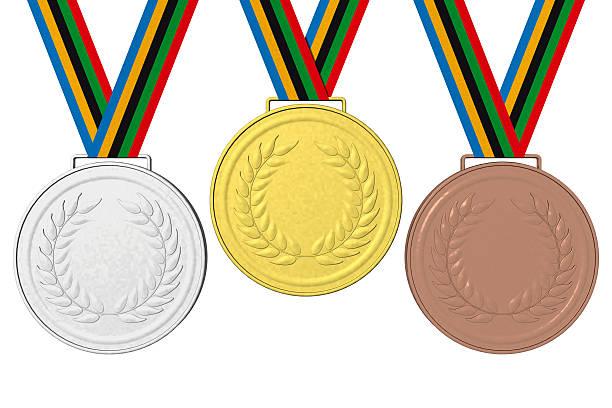 medals podium 001 - 5 kontinente stock-fotos und bilder