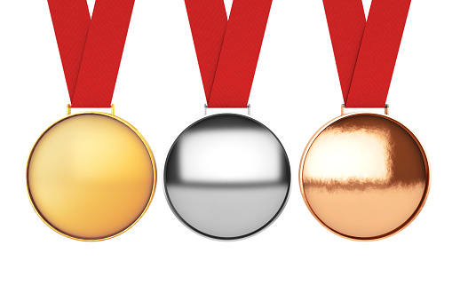istock Medals Set. Gold, Silver and Bronze Medal. 3d Rendering 597646598