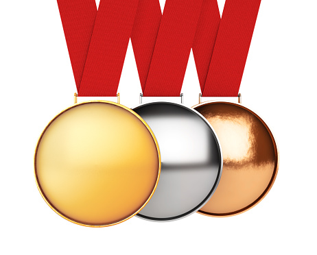 istock Medals Set. Gold, Silver and Bronze Medal. 3d Rendering 597646634