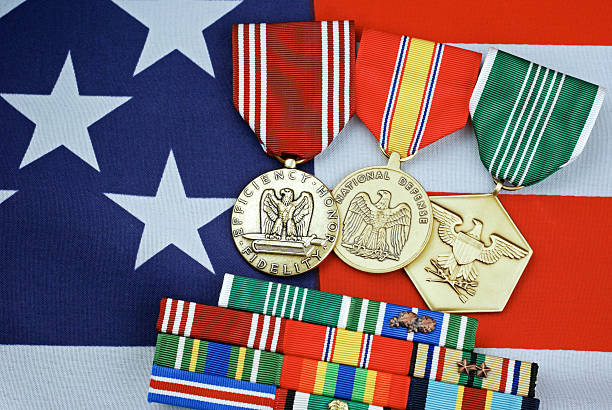 Medals  U.S. Military on Flag Background stock photo