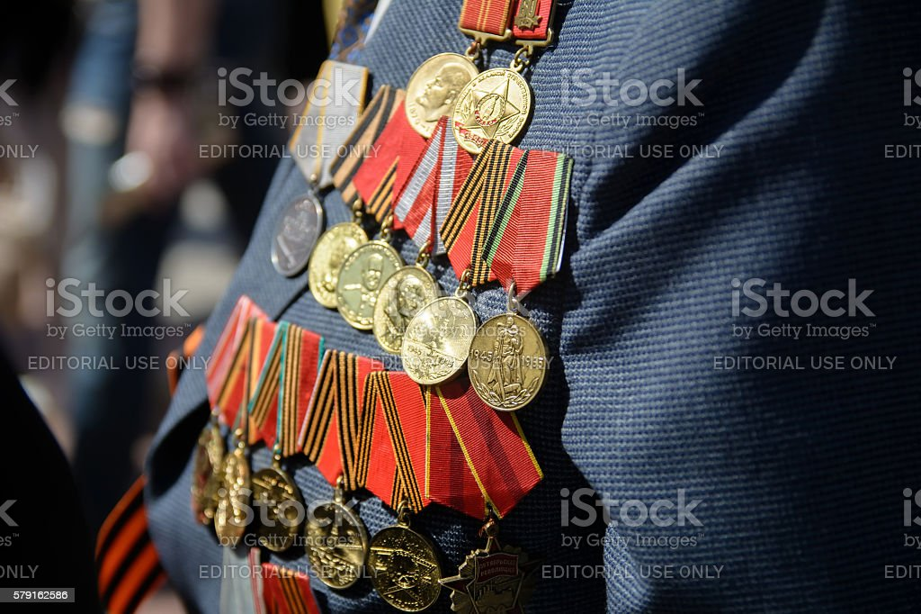 Medals veteran stock photo