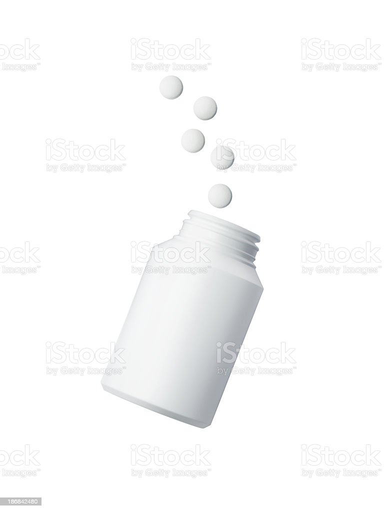 Medecine bottle with pills isolated on white stock photo