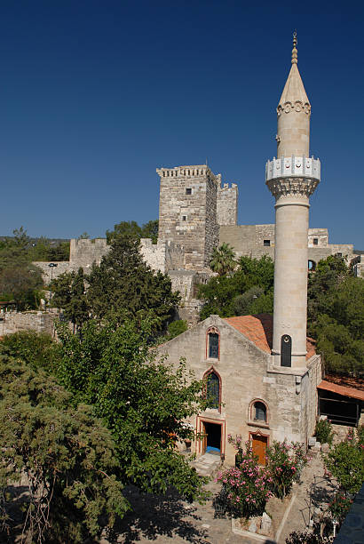 Medeival tower and mosque in St. Peter's Castle stock photo