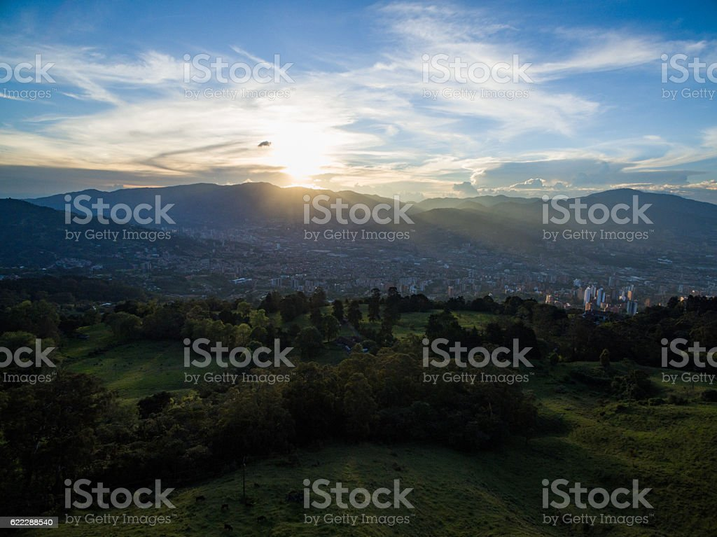 Medellin Aerial view stock photo