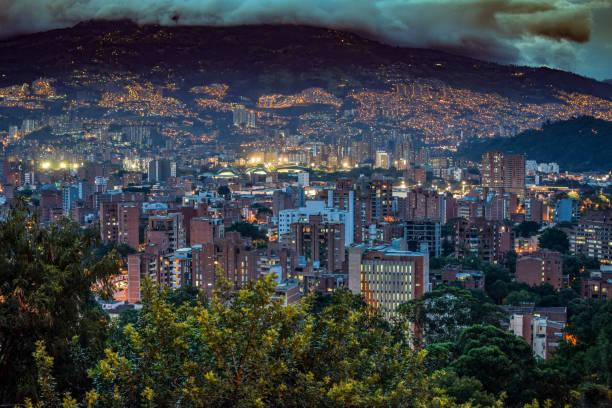 Medellin at Night stock photo
