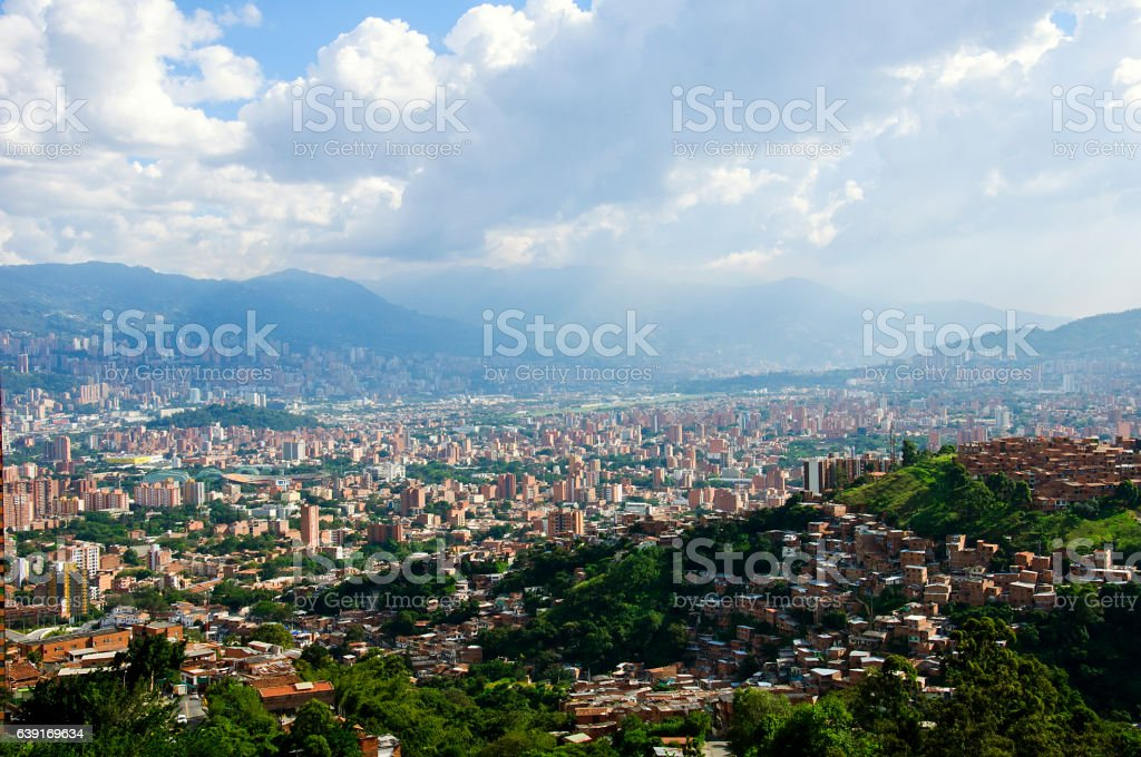 Medellin view from the top of Nutibara Hill stock photo
