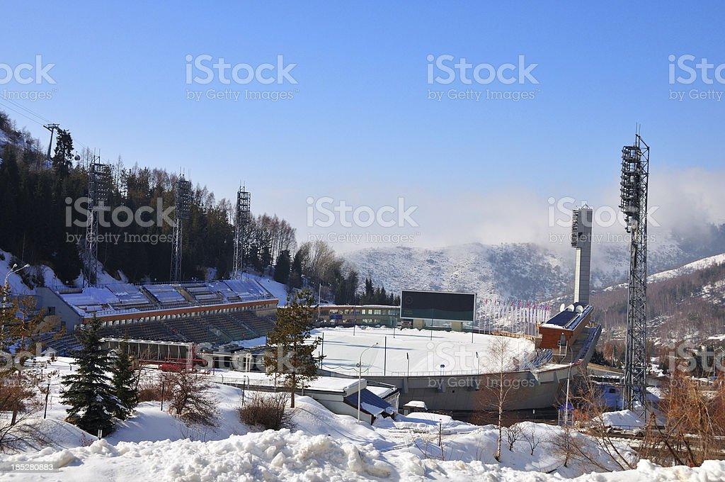 Medeo (Medeu) rink in Almaty stock photo