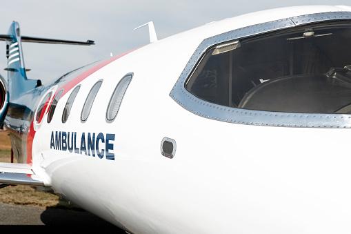 medevac air ambulance jet airplane in close-up on airfield (XXL)