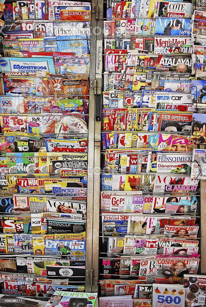 Media and magazine news stand. stock photo