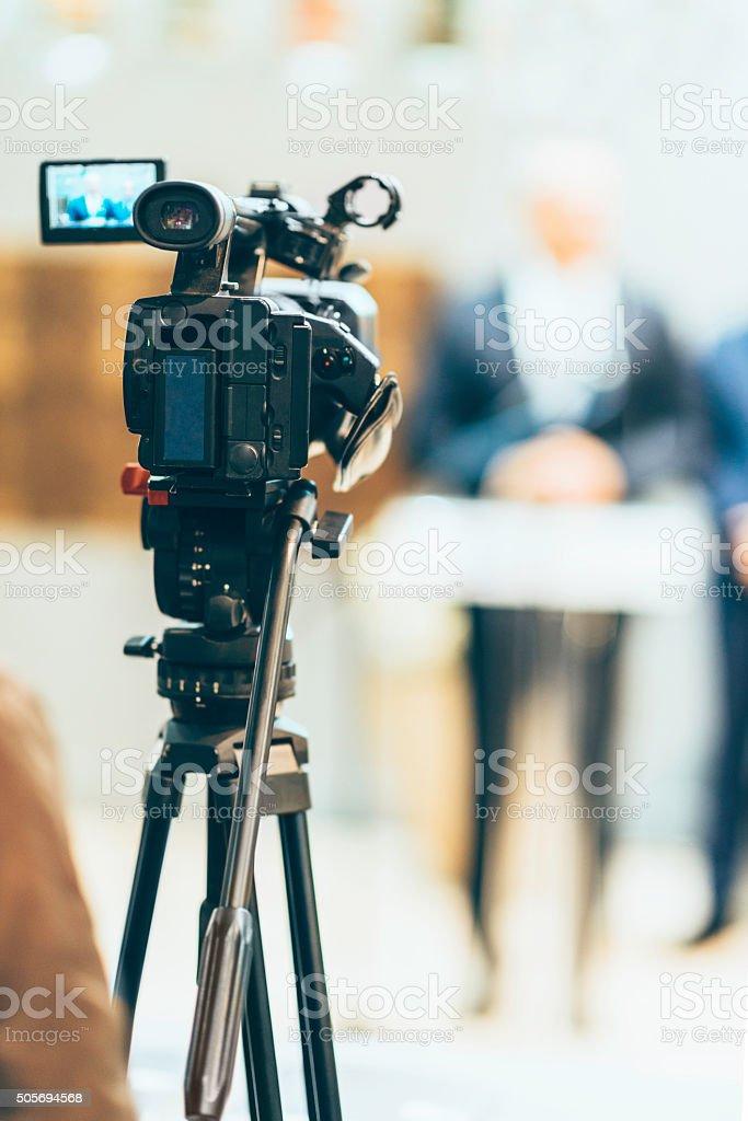 Media camera at publicity event stock photo
