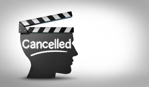 Media Cancel Culture Media cancel culture symbol or cultural cancellation and social media censorship as canceling or restricting cancelled shows that are offensive or controversial to the public with 3D illustration elements. facebook boycott stock pictures, royalty-free photos & images