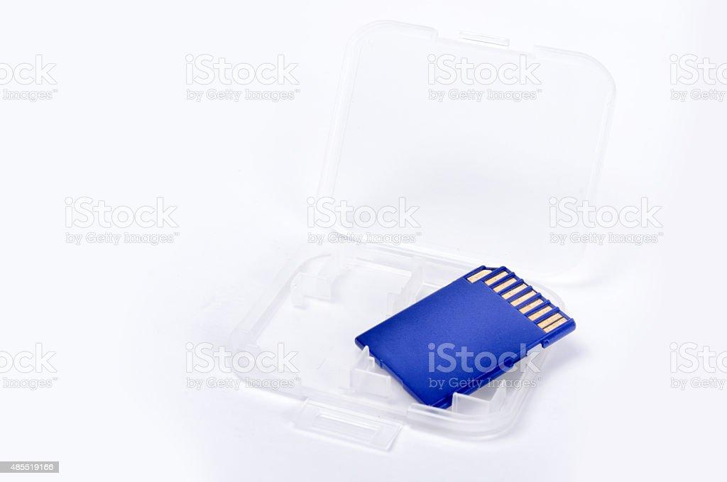 Media card isolated on white background closeup stock photo