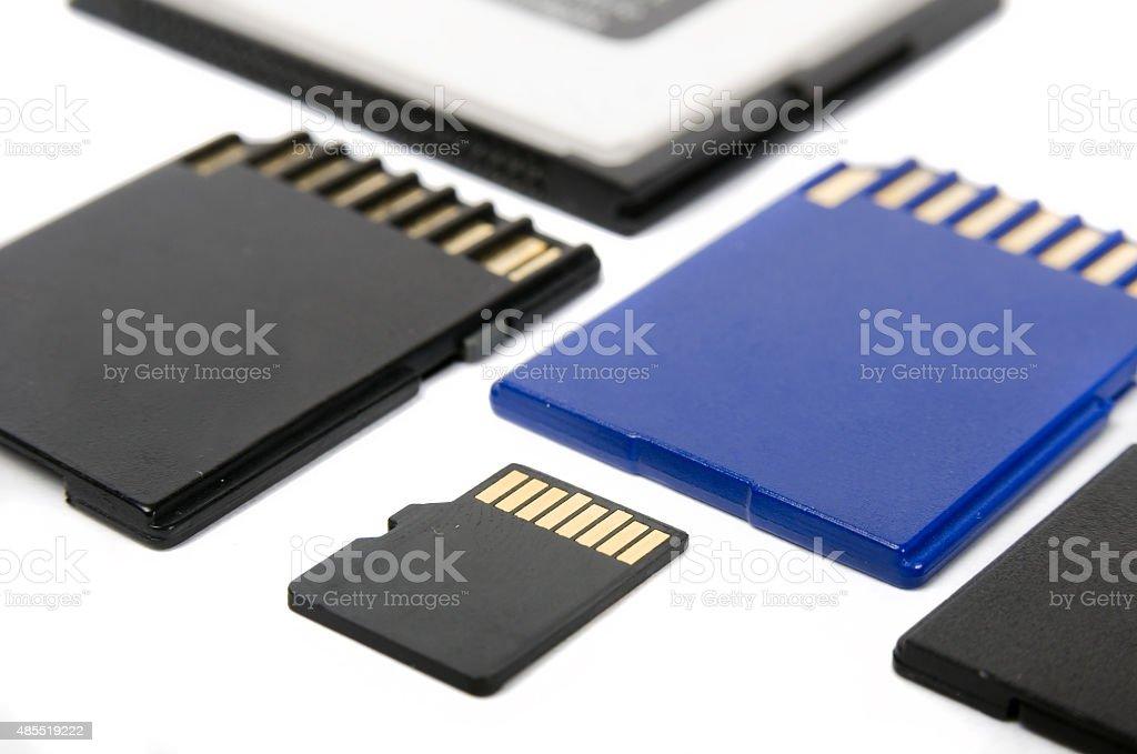Media cards isolated on white background closeup stock photo