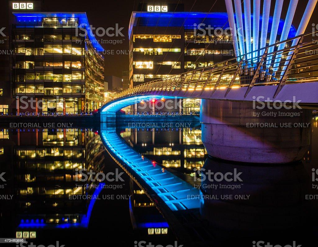 Media City illuminated at Night. Salford, Manchester, UK stock photo