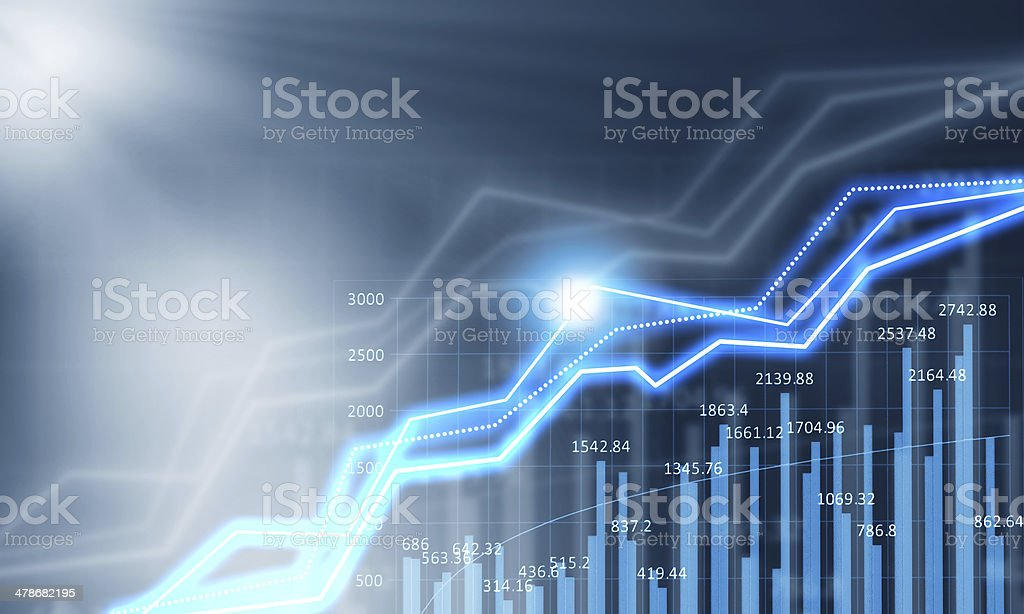 Media concept Background media blue image with digital graphs and icons Abstract Stock Photo