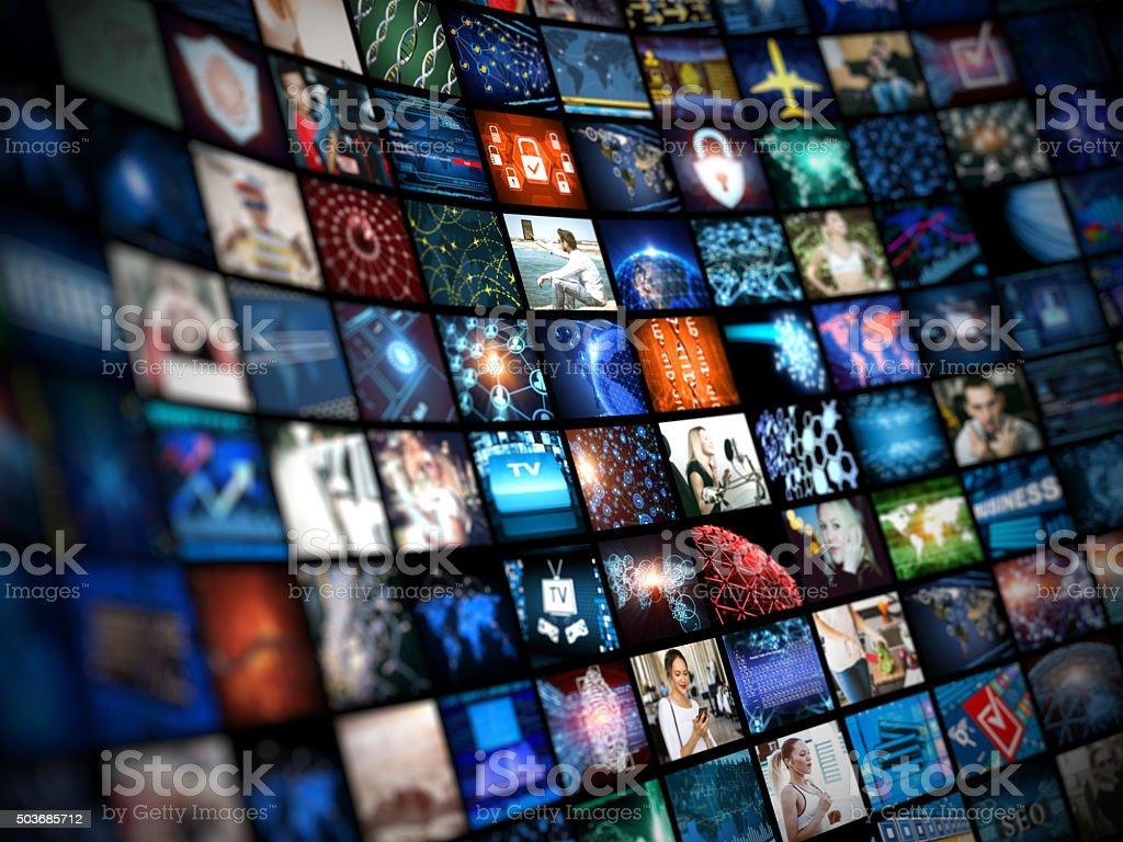 Media concept smart TV Digital Media concept Wall of screens smart TV Arts Culture and Entertainment Stock Photo