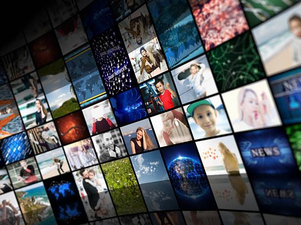 Los medios de comunicación concepto smart TV - foto de stock