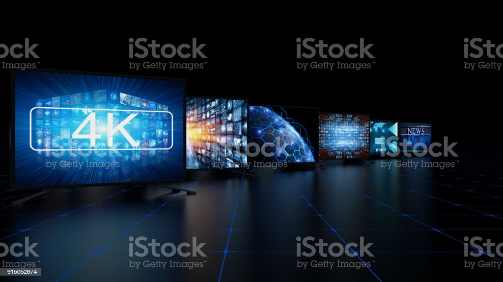 Media concept video wall with screens stock photo