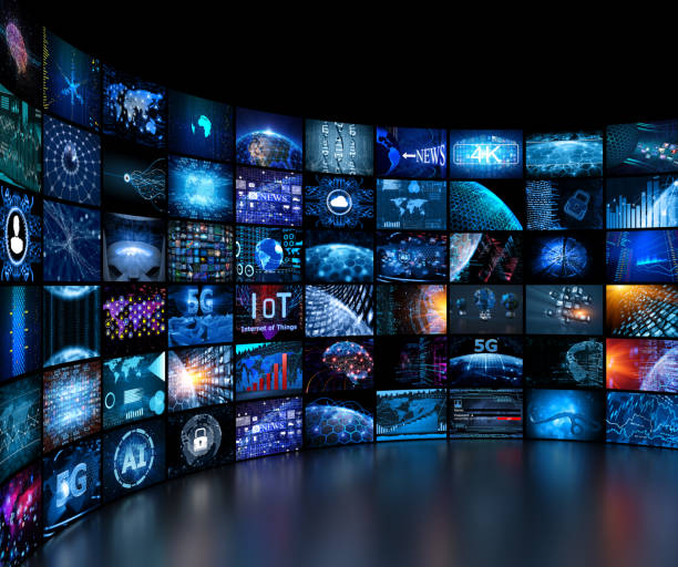 media concept video wall with small screens - the media stock pictures, royalty-free photos & images