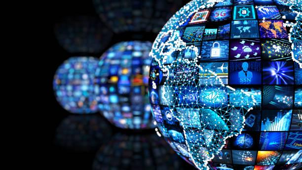 Media-Konzept-Videowand mit kleinen Bildschirmen – Foto