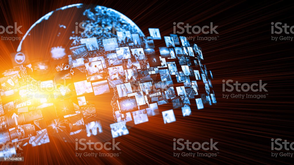 Media concept video wall with small screens royalty-free stock photo