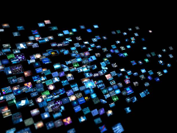 Pared video de concepto de los medios de comunicación con pantallas pequeñas - foto de stock