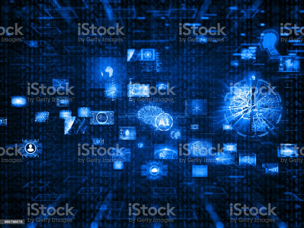 Media concept video wall with small screens - Royalty-free Artificial Intelligence Stock Photo