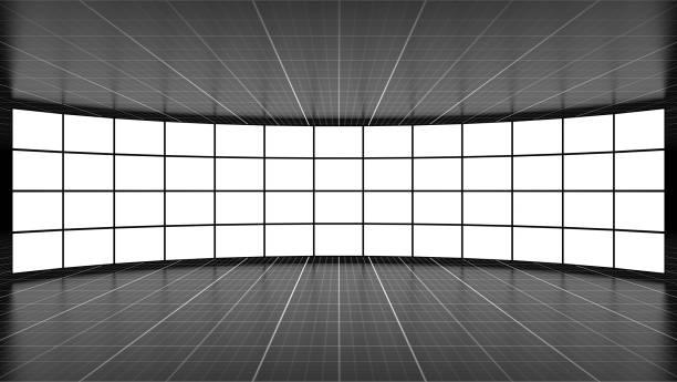 Concepto de medios de comunicación con pantallas de televisión vacías - foto de stock