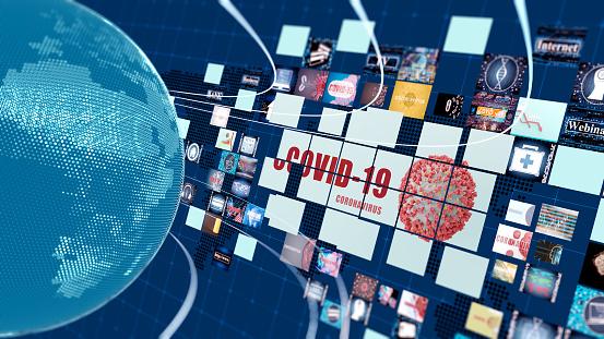 Media concept with TV screens 3d
