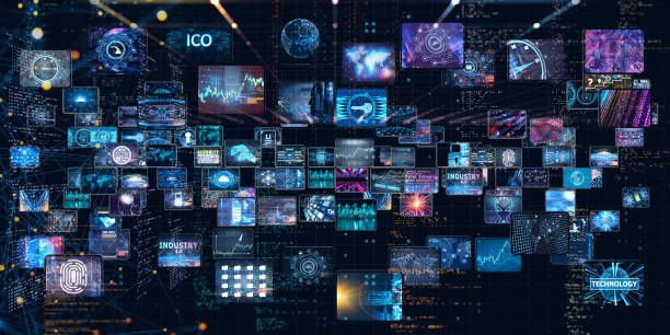 Media concept with TV screens stock photo