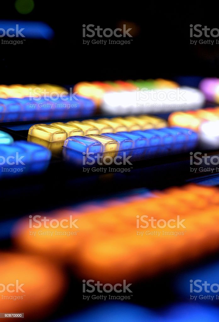 Media Console Illuminated buttons vertical royalty-free stock photo