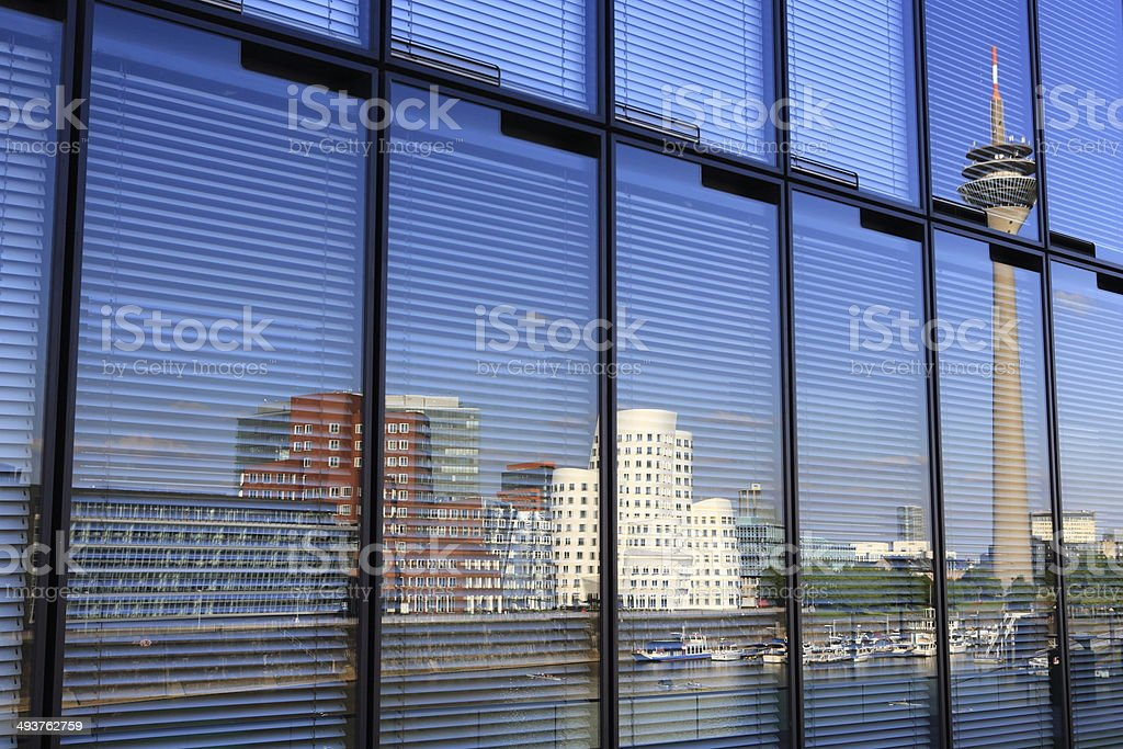 Media harbor reflections in glass facade stock photo