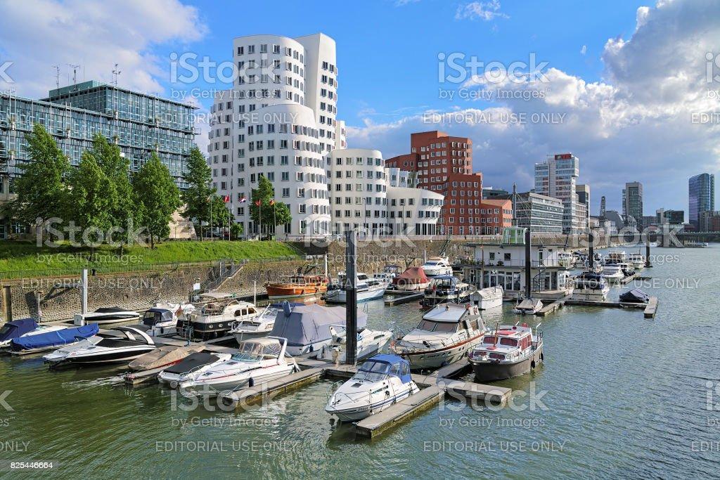 Media Harbor with Neuer Zollhof buldings in Dusseldorf, Germany stock photo