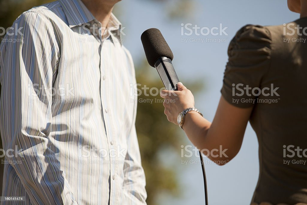 Media interview royalty-free stock photo