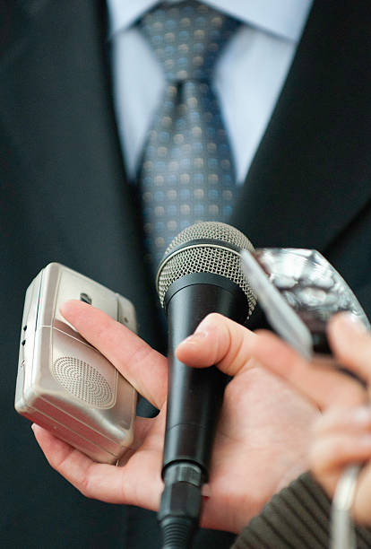 media interview - recorder stock photos and pictures