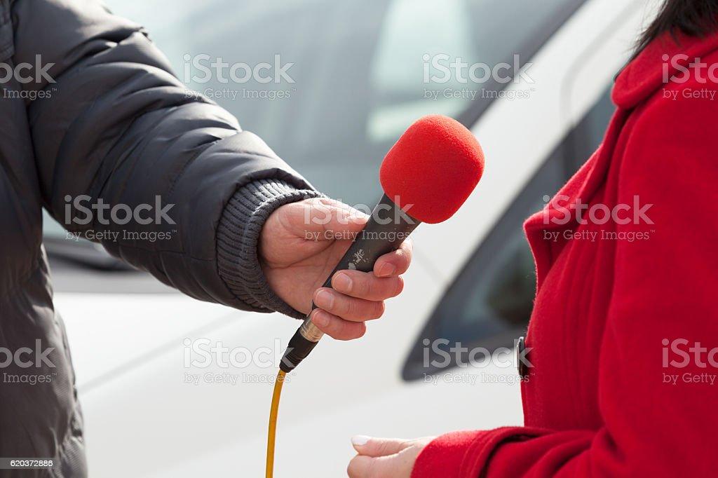 Media interview. Red microphone. zbiór zdjęć royalty-free