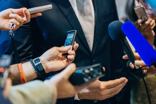 Media interview with politician stock photo