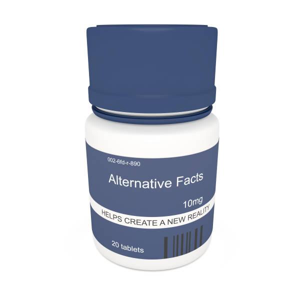 medienkonzept news: blaue pille flasche alternative fakten, 3d illustration auf weißem hintergrund - wahre lügen stock-fotos und bilder